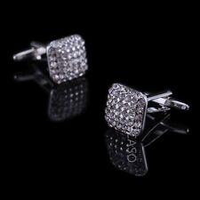 Mencaso Men's Sliver Diamond Square Shirt Cufflinks- Wedding Party Business
