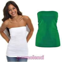 Top maglia maglietta donna tube tubo bustino bustier corpetto jersey CC-442
