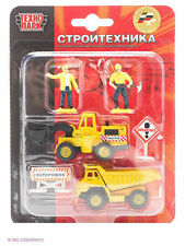 Set of 2 metal cars Construction machinery with accessories and figures