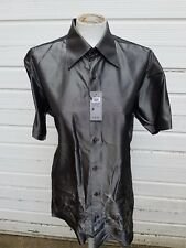 River Island Men's Casual Blue Shirt With Chinese Pattern Symbols Size Medium