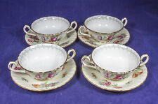 Minton Footed Cream Soup Bowl & Saucer Set 4 in Bala England Antique Mint