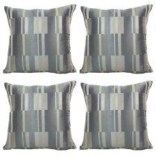 Set of 4 - Grey Chevron Contemporary Geometric Block Design Cushion Covers 18x18