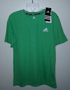 Adidas Boys 10-12 14-16 18 Short Sleeve Climalite Shirt SOLAR GREEN Tee #32717