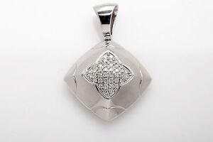 Estate Bvlgari $7000 Signed 1ct VS F Diamond 18k White Gold Pendant PYRAMID 13g