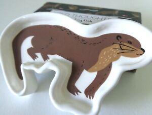 Otter Shape Trinket Dish Nature Wildlife Ceramic Ring Bowl 10.5x6.5cm + Box Gift