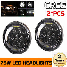 "2x 7inch 75W 7"" LED Headlight H4 H13 DRL HIGH LOW BEAM For JEEP JK Wrangler"