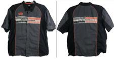Harley Davidson Racing Shirt Mens 2XL Button Up Gray Black Mechanic Garage Biker