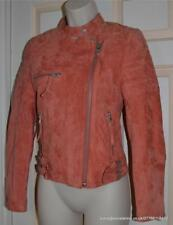 All Saints Danes Suede Biker Jacket in Coral/Peach Size 8 BNWT £495