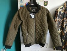 Rising Men's Quilted Bomber Jacket, Khaki, Medium, New with Tags