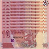 Zimbabwe - 10 Dollars 2020 - Pick- NEW - Set 10 PCS - UNC