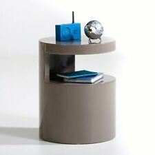BNIB La Redoute Newark High-Gloss Cylindrical Bedside Table, Coffee / Occasional
