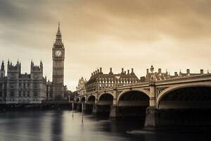 London bridge big ben uk cityscape modern art print photograph  canvas