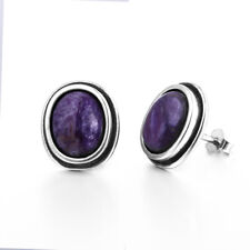 925 Silver Natural Charoite Purple Oval Bead Vintage Earring Women Studs Jewelry