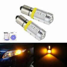2pcs H21W BAY9s 10SMD LED Bulb Front Indicator Rear Reverse Side Light Amber 12V