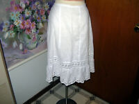 Antique Victorian White Cotton Girl's Petticoat Skirt with Lace Ruffle...Small