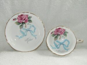 PARAGON WHITE PINK ROSE & BLUE BOW BONE CHINA MOTHER TEACUP & SAUCER EXCELLENT