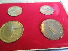 LUNDY ISLAND 4 Coins 1965 Proof Set Brass/Copper Puffin in Presentation Case