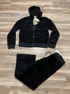 Rare NWT Vintage Juicy Couture 2000s Velour Black Hoodie & Pants Tracksuit XL