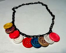 """35% Sale! VINTAGE MULTI-COLOR CELLULOID BUTTON 18"""" CHOKER 100% nickel 'O' rings"""