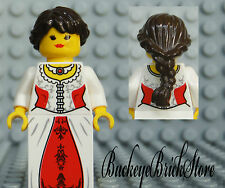 NEW Lego FEMALE PRINCESS MINIFIG - Pirate Girl w/Brown Hair Red & White Dress