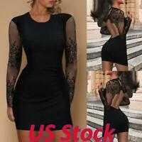 US Womens Ladies Sexy Lace Backless Dress Bodycon Party Cocktail Mini Dresses
