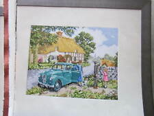 Cross stitch chart by Kevin Walsh by DMC showing a family day out in the country