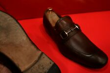 $729.00 !! GUCCI MEN'S RUSTY  BROWN LEATHER HORSE BIT LOAFERS MARKED SIZE 10.5
