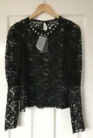 ZARA BLACK SHEER LACE PEARL NECKLACE TOP S SMALL NEW