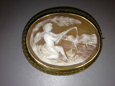 """Cupid Fishing"" Cameo Pin/Brooch set in 12K Antique Yellow Gold"