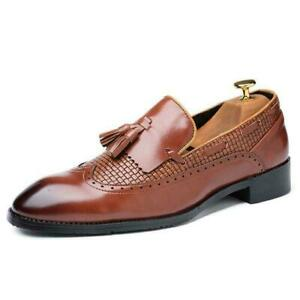 Mens Low Heel Dress Shoes Tassel Slip On Loafers Casual Flats Formal Oxfords New