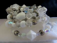 Vintage White Glass A/B Crystal Bead Wrap Bracelet W/ 2 Lockets