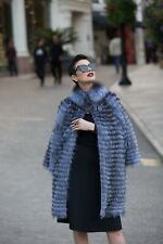 LUXURY STRIPED REAL SILVER FOX FUR COAT JACKET PARKA / LUXOR LEATHERS & FURS
