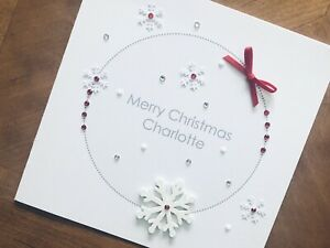 "Personalised Handmade Christmas Cards - Wooden Snowflake 6"" X 6"""