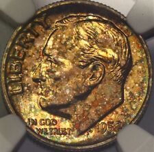Toned NGC PF65 1952 Proof Roosevelt Dime 10c Rainbow Golden Obverse Cameo Revers