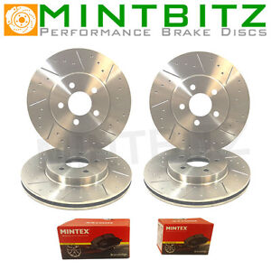 Vectra 2.8 VXR 05-09 Front & Rear Dimpled & Grooved Brake Discs & Mintex Pads