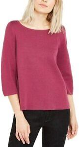 Eileen Fisher Womens Pink Bateau Neck 3/4 Sleeve Mum Pullover Sweater Top Sz XS