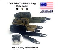 Tactical 2 Point Adjustable Rifle Gun Sling Strap w/ QD Sling Swivel US Seller