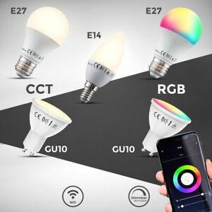 LED Smart Leuchtmittel WiFi Lampe dimmbar RGB CCT Birne E27 E14 GU10 Alexa Googl
