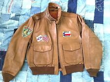 1970S VIETNAM GOATSKIN LEATHER 25TH FIGHTER SQ, PATCHED FLIGHT JACKET USA LARGE