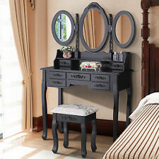 9bd2a30d9d6 3 Mirror 7 Drawer Vanity Makeup Table Dressing Wood Desk Set with Stool  black