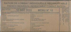 # 2023 Ration de combat Française Menu 12  RCIR-MRE Armée Française
