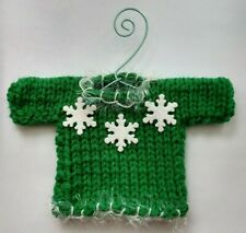 Green and Red with Snowflakes  MINI  UGLY Christmas  Sweater  Ornament