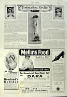 Old Vintage Print Advertisement 1917 Motor Tyres Sunbeam Car Mellin Food 20th