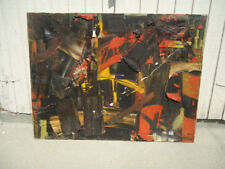 Major MICHEL CADORET 30 x 40 abtract lyrical oil . Soulages . French ca 1960