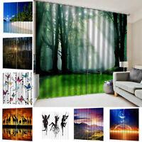 2 Panels 3D Vorhang Verdunkelungs Vorhänge Dekoschal Gardine Blickdicht Blackout