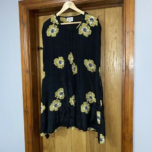 The Masai Clothing Company Black Floral Lagenlook Tunic Balloon Dress Size XL