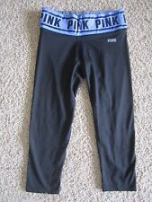 PINK by Victoria's Secret Black Blue Logo Ultimate Fit Crop Stretch XS