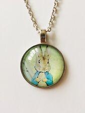 Peter Rabbit Pendant Necklace, Beatrix Potter, Vintage Style Silver Coloured