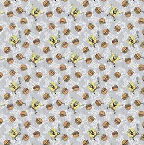 Sponge Bob Krabby Patties Grey Nickelodeon Cotton Quilting Fabric 1/2 YARD