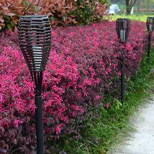 Waterproof Solar Powered LED Rattan Torch Light Path Lawn Outdoor Garden Lamp #C